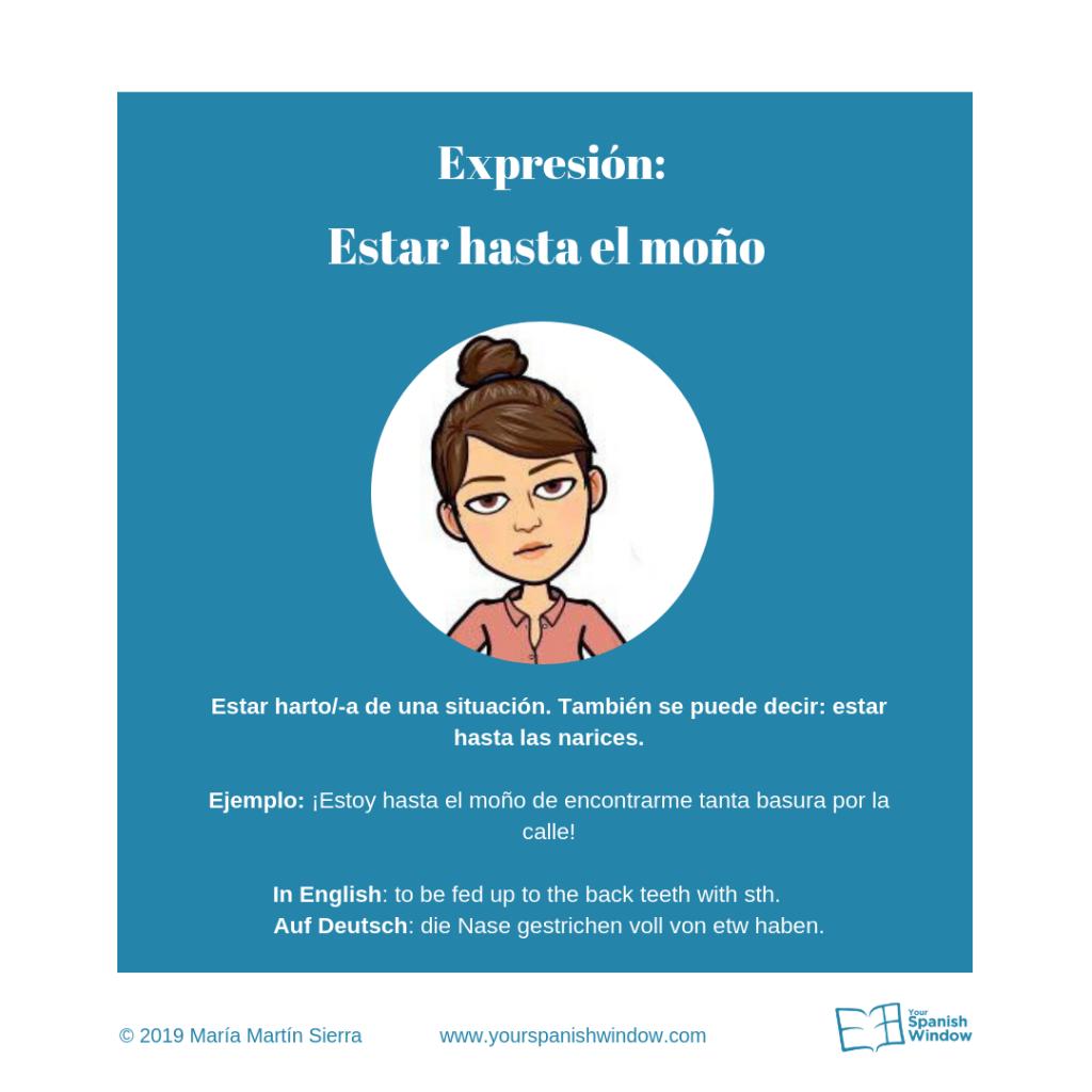 estar hasta moño online Spanischunterricht