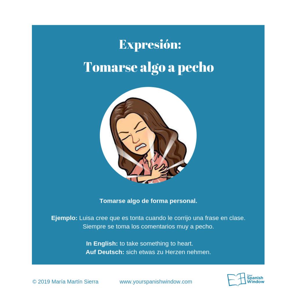 tomarse algo pecho expresiones españolas aprender español online